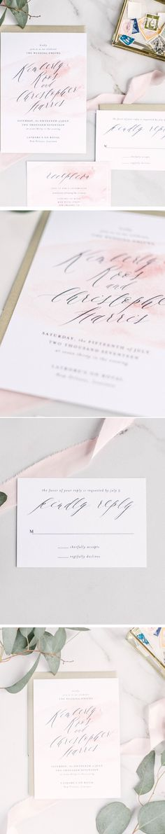 Stunning typography sets the stage for this gorgeous Southern Romance Wedding Invitation. Neutral lettering is paired with charming modern text against a bright white background. Lovely for formal and classic weddings alike, Kimberly is shown in flat printing but would look equally stunning in letterpress.