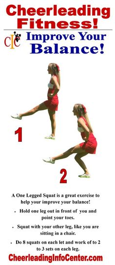Do you want to improve your balance and strengthen your legs? Check out these one legged squats. For all of the details, check out CheerleadingInfoCenter.com