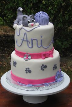 Grey kitten birthday cake! More