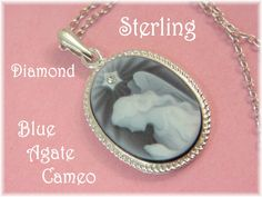 """Sterling Silver - Praying Angel Blue Agate Carved Cameo Pendant 18"""" Necklace…"""