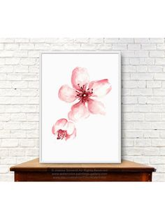 Pink Cherry Blossom Giclee Fine Art Print. Japanese Floral Poster. Abstract Flower Shabby Chic Home Decor. Sakura Watercolor Painting.  Type of