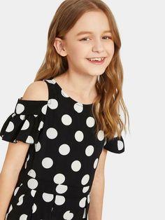 Girls Polka Dot Cold Shoulder Jumpsuit   SHEIN Cold Shoulder, Polka Dots, Jumpsuit, Little Girl Clothing, Overalls, Cold Shower, Jumpsuits, Catsuit, Polka Dot