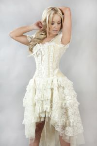 Ophelie Vintage Corset Dress Cream Taffeta & Lace