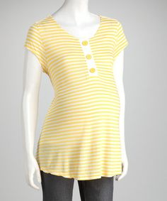 Take a look at this Yellow Stripe Maternity Henley by QT Maternity on #zulily today! $14.99