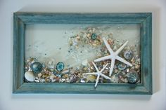 Starfish Wave Wall Hanging, Beach Art with Shells, Shell Art for Beach Decor, Seashell Arrangement Glass Art, Beach Sun Catcher by SeaSideCreations1 on Etsy
