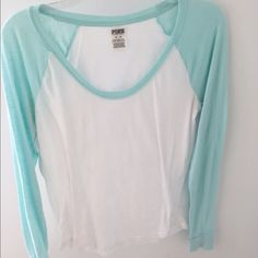 VS Pink Tshirt Comfortable , white and light blue in great condition PINK Victoria's Secret Tops Tees - Long Sleeve