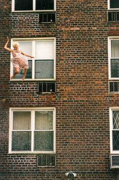 Agyness Deyn by Ryan McGinley for POP Magazine jumping fashion woman