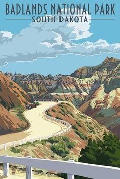Badlands National Park, South Dakota - Road Scene - Lantern Press Poster