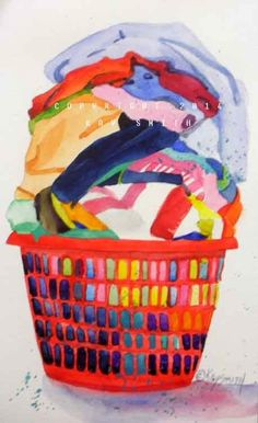Red Laundry Basket, painting by artist Kay Smith Washing Basket, Plastic Laundry Basket, Laundry Art, Laundry Room, Basket Drawing, Food Drive, Family Painting, Vintage Laundry, Gcse Art