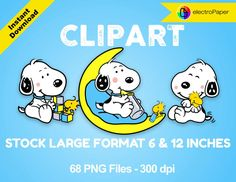 BABY SNOOPY - Clipart - Stock Large Format 6 and 12 inches - 68 png files 300 dpi for Cardmaking, Scrapbooking, Party Decorations and More by ElectroPaper on Etsy