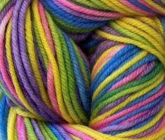 Knitters Gift - Hand Dyed Yarn/Self Striping  DK yarn/ 4 ply superwash merino wool, Girly Pastel Rainbow