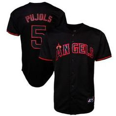 0534c646c Shop Los Angeles Angels Albert Pujols Black and Red Jersey to support your  favorite baseball hero