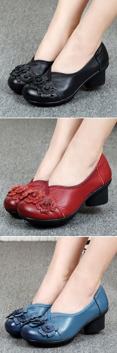 US$25.76 Socofy Leather Mid Heel Vintage Handmade Flower Original Soft Shoes