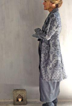 Long Scoop Jacket in grey/black patterned wool £398 over Bubble skirt in wool £245.