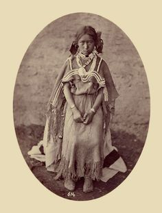 An old photograph of a Young Jicarilla Apache Girl 30th Sept 1871.