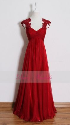 Red lace prom dress,long empire waist bridesmaid dresses,pregnant dress,cocktail dress,evening dresses,wedding party dresses,custom made