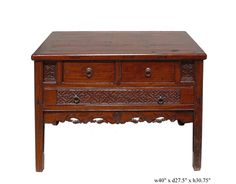 Orient Deep Rectangular Brown Console Vanity Table - Golden Lotus Antiques  650-522-9888 goldenlotusinc@yahoo.com