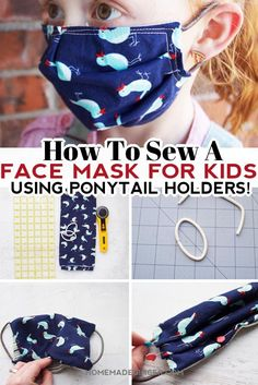 Learn how to make a face mask for kids using ponytail holders instead of elastic! #homemadegingerblog #diyfacemask #facemasktutorial #facemaskforkids