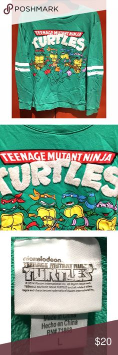 Teenage Mutant Ninja Turtle sweatshirt Awesome Teenage Mutant Ninja Turtle crew neck sweatshirt in like new condition! Cool appliqué work on the TMNT name shown in close up image. Super soft and comfy! Nickelodeon Sweaters Crew & Scoop Necks