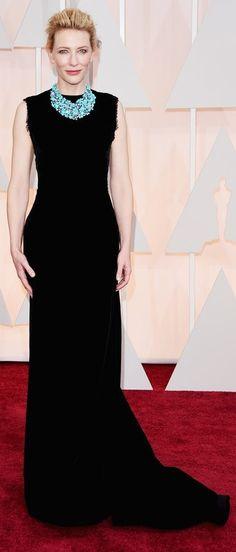 Cate blanchett black column prom gown celebrity dresses oscars 2015 red carpet