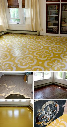 """A transformational """"before and after"""" by Lori Dunbar of Marzipan Inc.! After tearing up four layers of carpet, laminate tile and felt paper, wood floors were painted yellow and stenciled white"""