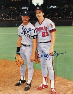 Don Mattingly New York Yankees & Wally Joyner California Angels Dual Autographed 8x10 Photo -Posing on the Field-