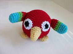 Plush Parrot Toy Bird Handmade in by CoastalCrochetCrafts on Etsy, $16.00