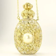 Vintage Clear Glass PERFUME BOTTLE Ornate Gold Tone Filigree Pearl Necklace Gift