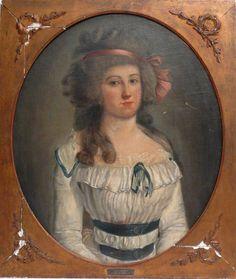 Johann Friedrich August Tischbein (Werkstatt), Damenporträt in weißem Kleid.