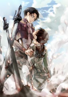 Levi's reaction if Eren were to actually die. I don't ship them, but even so, this pic is beautiful.