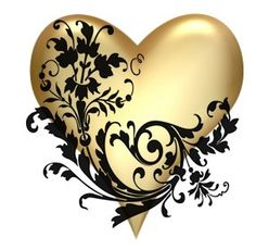 A GOLD heart with BLACK trim.