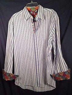 Robert Graham Money Bags Blue Striped Geometric Flip Cuff Casual Shirt Size 2XL #loveit http://bayfeeds.com/ebayitem.php?itemid=231652953203