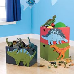 Kids Dinosaur Bedding: In the age of dinosaurs, fun ruled the earth and the bedroom! Big, friendly dinosaur appliqués stomp around large patchwork yarn-dyed squares on this handcrafted quilt bedding. Boys Dinosaur Bedroom, Dinosaur Room Decor, Dinosaur Nursery, Dinosaur Kids Room, Dinosaur Dinosaur, Big Boy Bedrooms, Baby Boy Rooms, Kids Bedroom, Bedroom Ideas