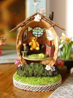 OOAK Miniature Walnut Pooh House with Micro by MuffaMiniatures