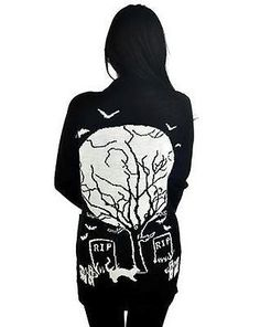 e4a498b7 Acrylic Over-sized soft, light-weight cardigan. Bats embroidered on front  chest. Graveyard & moon scene knit into back. Take a stroll through the  graveyard ...