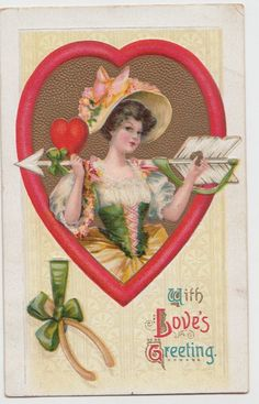 Valentine's Day Love Postcard Holiday Greetings C'10 Heart Arrow Woman Dress 183 | eBay