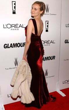 Pin for Later: Diane Kruger's Red Carpet Style Is So Stunning, We Can Hardly Believe She's Real  She revealed her sexy back at the Glamour 2006 Golden Globe afterparty.
