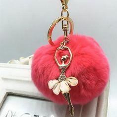 9773105308aa Ballerina Girl Fluffy Real Rabbit Fur Ball Keychain Car Key Chain Ring  Decoration For Purse Bag EH-431
