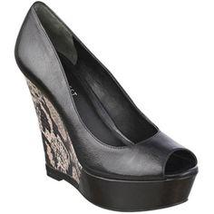 Snake print wedge heels!