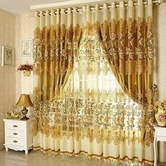Amazon.com: Curtains For Living Room Bedroom Arrival Ready Made Luxury Tulle+ Thick Purple Brown Windows In Blackout , Processing Hook (200 cm W x 250 cm H, Color 4): Home & Kitchen