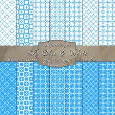 Cute Geometric Inspired Designs in Sky Blue & White – Digital Paper Pack 43