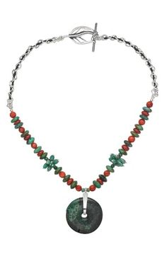 Jewelry Design - Single-Strand Necklace with Turquoise Gemstone Focal and Beads, Red Coral Beads and Sterling Silver Chain - Fire Mountain Gems and Beads