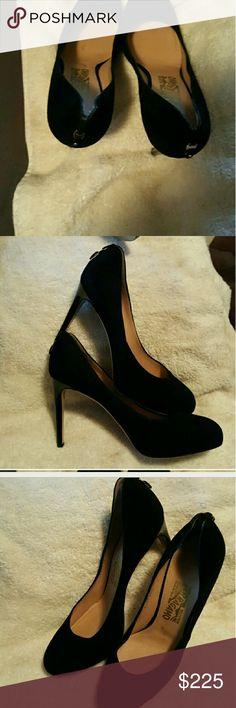 Ferragamo Black Suede Shoes Ferragamo Rhonda Pump, Sexy Black Suede Shoes, never worn Ferragamo Shoes Heels