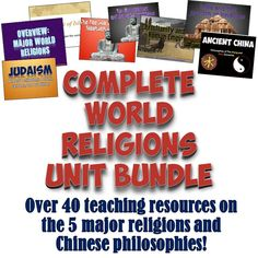 This download includes an amazing set of resources for teaching all of the major world religions!  Folders include resources on Buddhism, Christianity, Hinduism, Islam, Judaism, and one on the Chinese philosophies of Legalism, Confucianism, and Daoism! Inside each are PowerPoints, Common Core readings, worksheets, and more! There are over 40 total teaching resources included which can be used for a full month unit on World Religions!