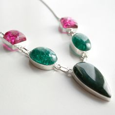 New to MillingtonsGifts on Etsy: Handmade Pink and Green Agate Silver Bracelet (14.95 GBP)