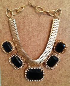 black and gold statement necklace by shop616couture on Etsy, $60.00