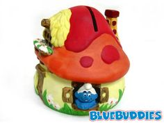 OFFICIAL COLLECTABLE NOVELTY SMURF MONEY BANK PIGGY JAR THE SMURFS MONEY BOX