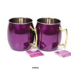 2-Piece Set: Colorful Stainless Steel Moscow Mule Mugs with Brass Handle at 63% Savings off Retail!