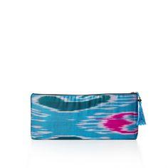 Mohinur Zip Clutch in blue #womanmade #ethicalfashion #uzbekistan #brooklyn #girlsed