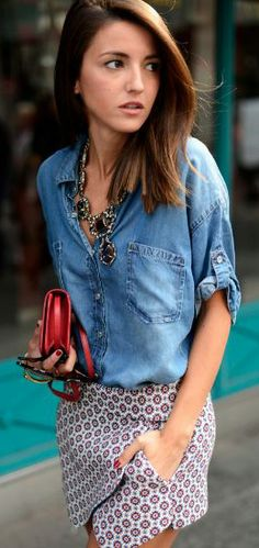 Pattern skirt with denim chambray